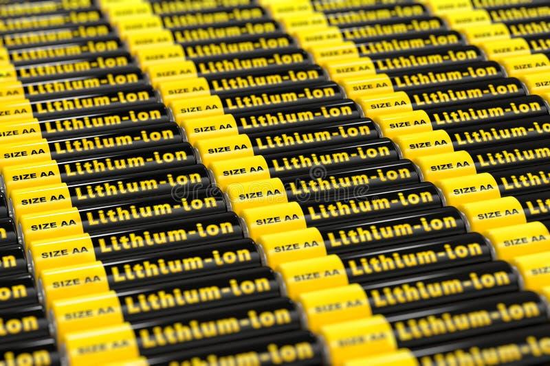 Rijen van generische aa-batterijen met het etiket 'Lithium ionen 'e ' royalty-vrije illustratie