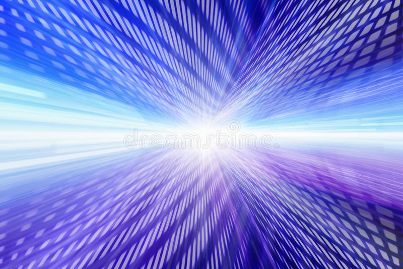 Rijen van gloeiende blauwe en roze rechthoeken, helder licht in centrum stock illustratie