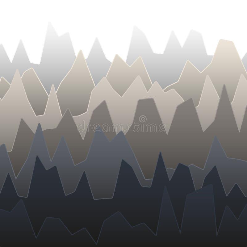 Rijen van grijs gekleurd diagram met pieken van verschillende hoogte stock illustratie