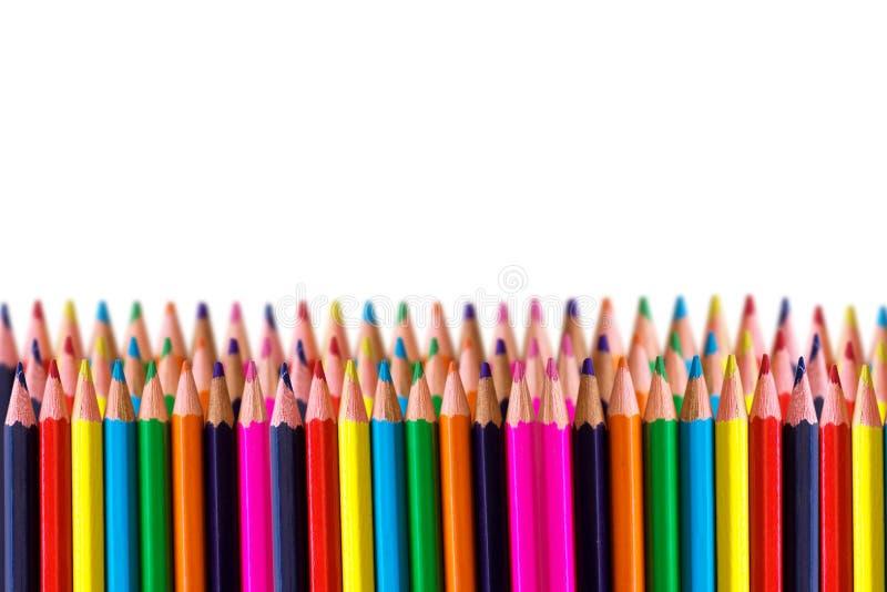 Rijen van kleurpotlood royalty-vrije stock afbeelding