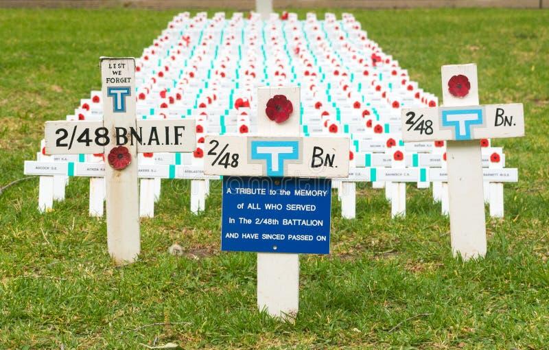 Rijen van kruisen om Australische militairen te herdenken stock fotografie