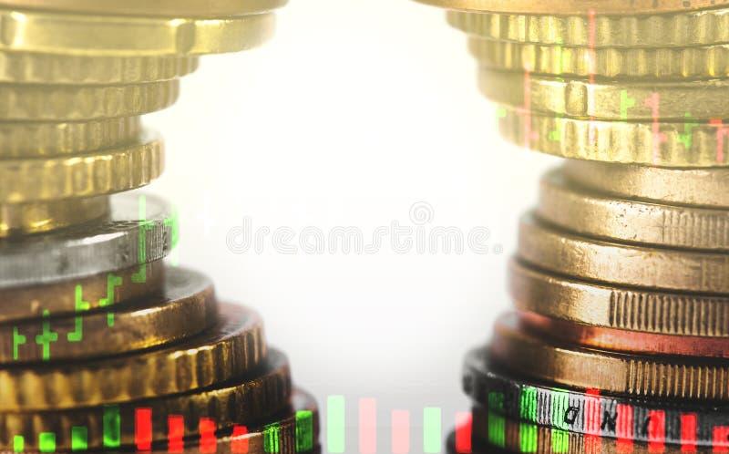 Rijen van muntstukken royalty-vrije stock foto's