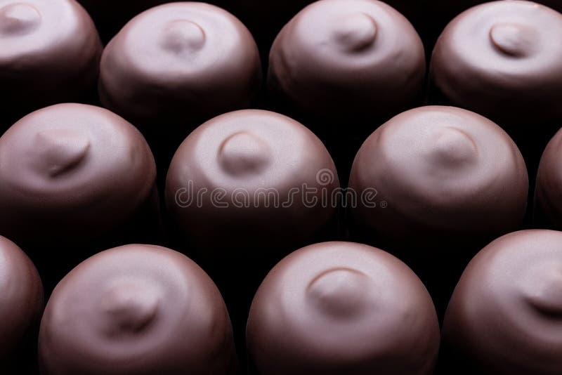 Rijen van ovale eigengemaakte die desserts, heemst in chocolade wordt ondergedompeld, royalty-vrije stock foto