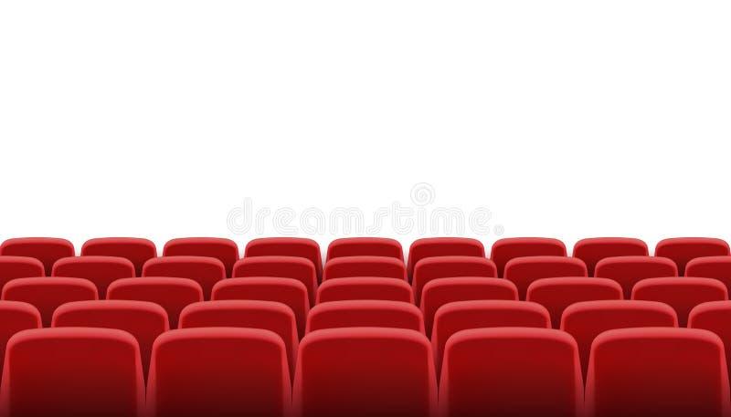 Rijen van rode bioskoop of theaterzetels stock foto