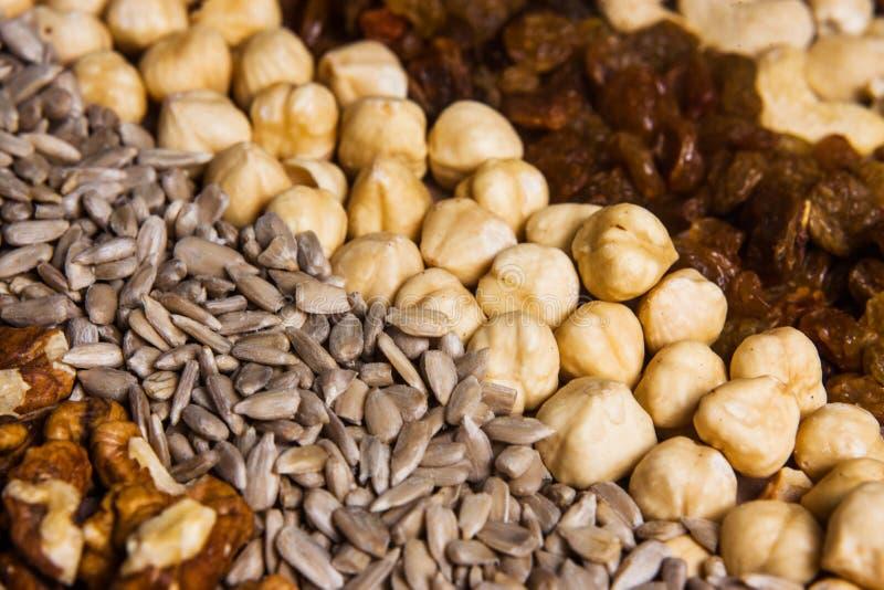 Rijen van ruwe organische noten en zaden voor granola royalty-vrije stock afbeeldingen