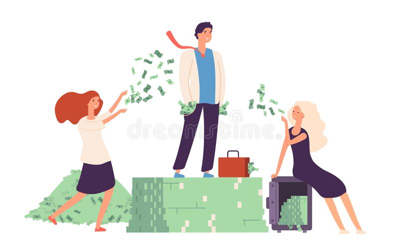 Rijk concept Zakenman die zich op welvaart van het de stapel de dure leven van de gelddollar bevinden De rentabiliteit van het fi royalty-vrije illustratie