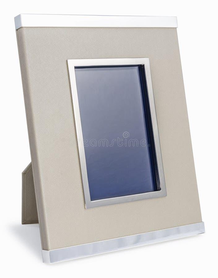 Rijk vinyl en zilveren fotokader Beige kleur stock foto