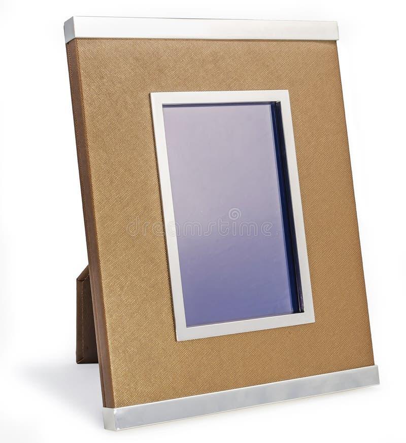 Rijk vinyl en zilveren fotokader Witte golven rond stock foto
