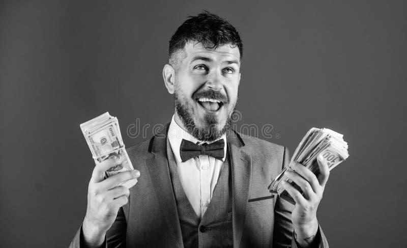 Rijkdom en welzijnsconcept Krijg contant geld gemakkelijk en snel De zaken van de contant geldtransactie Gemakkelijke contant gel stock afbeelding