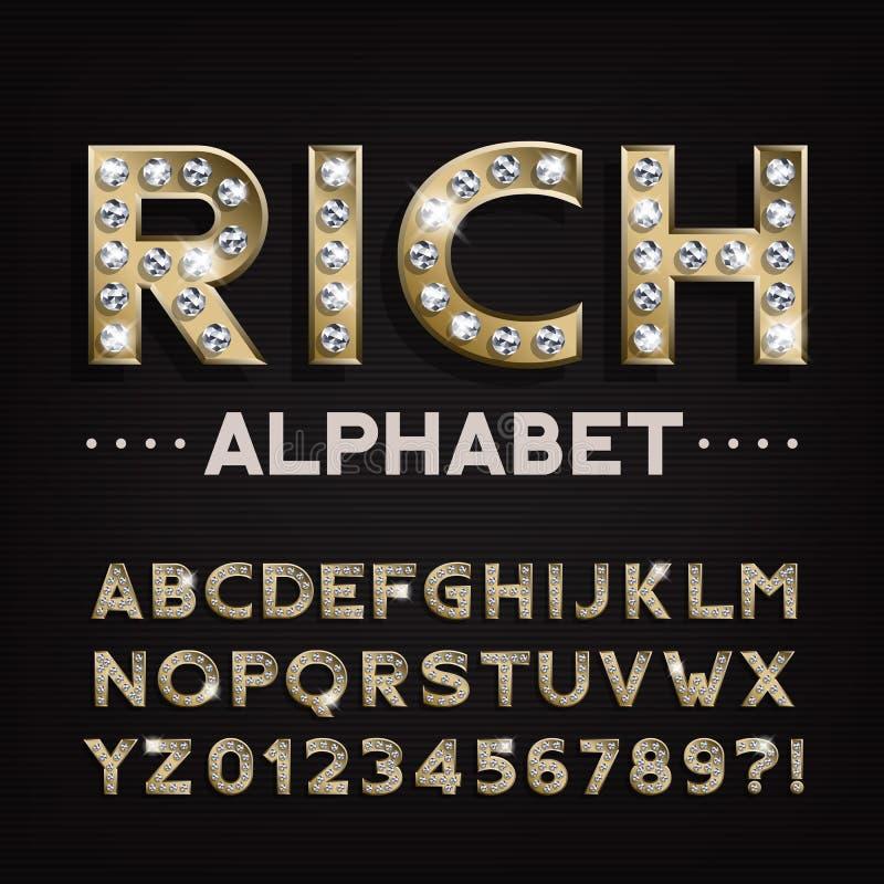 Rijke alfabetdoopvont Gouden letters en getallen met diamanten stock illustratie