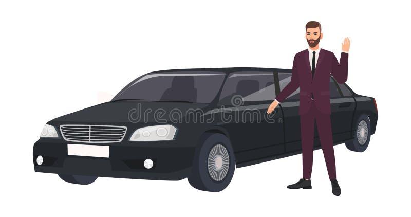 Rijke man in elegant kostuum die zich naast luxelimousine en golvende hand bevinden Rijke persoon of mannelijke beroemdheid en va royalty-vrije illustratie