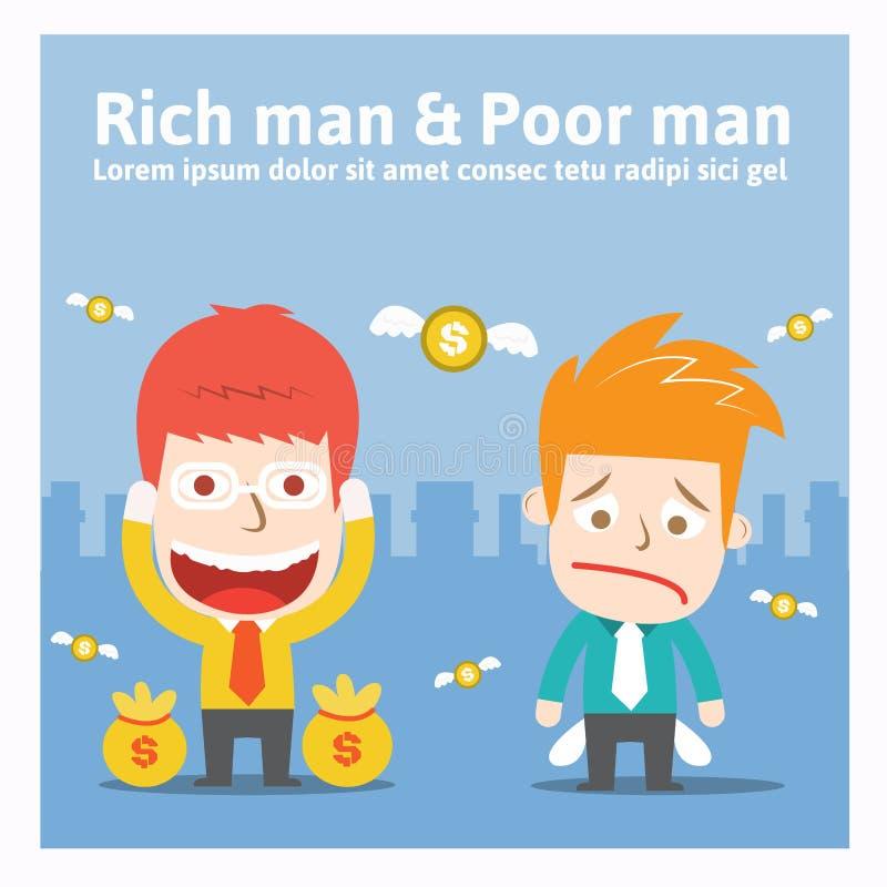 Rijke man & Slechte mens vector illustratie