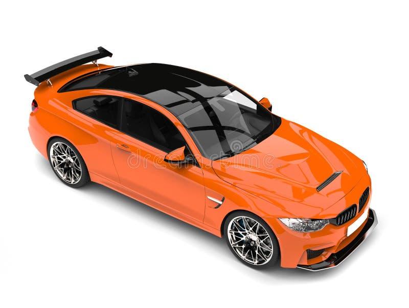 Rijke oranje moderne luxesportwagen - top down mening stock illustratie