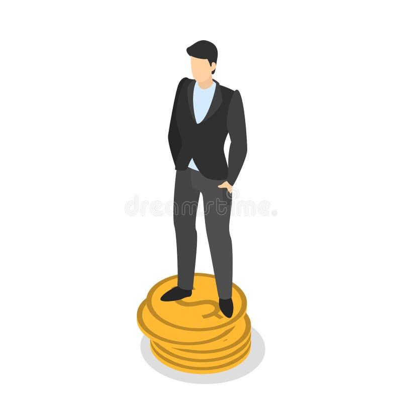 Rijke zakenman die zich op een stapel van gouden muntstuk bevinden royalty-vrije illustratie