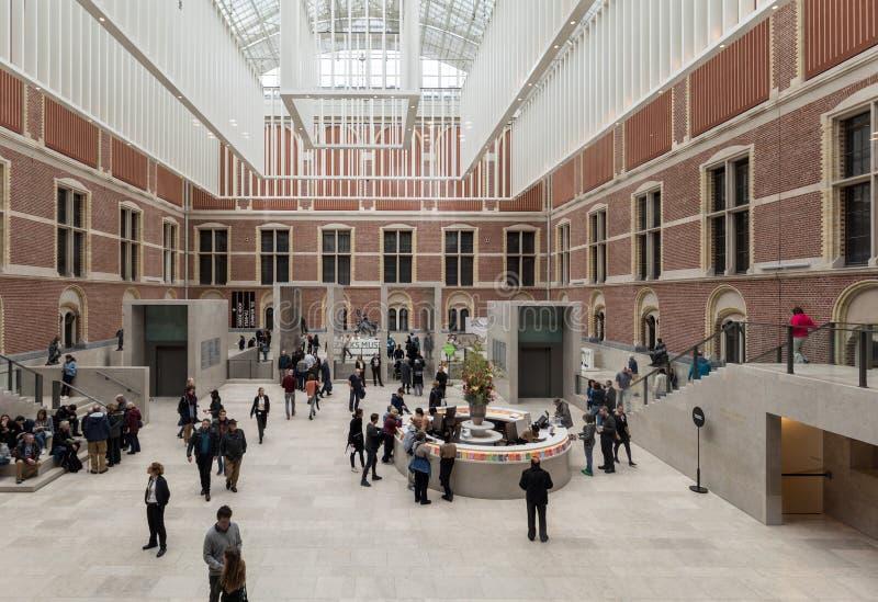 Rijksmuseum,原始的内部庭院被重新设计创造心房的轰烈的新的入口空间 Amste 免版税库存图片