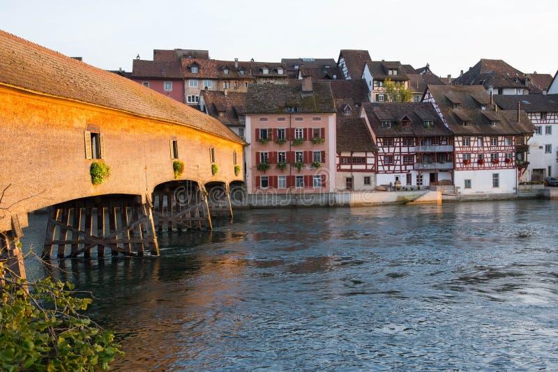 Rijn nabij Diessenhofen in Zwitserland royalty-vrije stock afbeelding