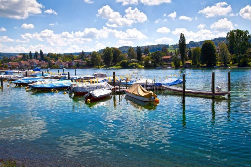 Am Rijn van de stenen bierkroes haven, Zwitserland royalty-vrije stock foto's