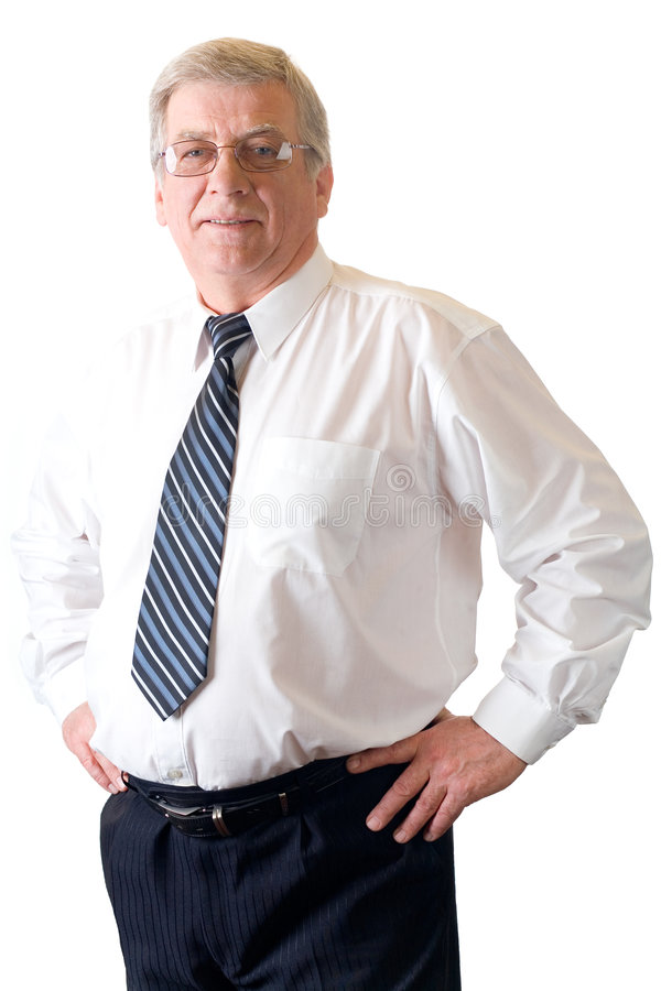 Rijp glimlachende leraar of zakenman die op wit wordt geïsoleerd royalty-vrije stock foto