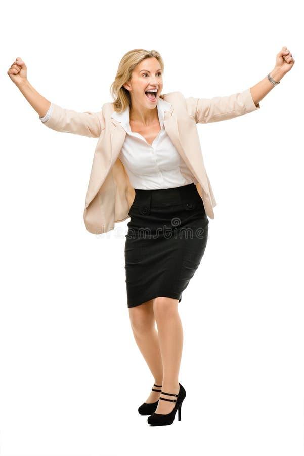 Rijp het bedrijfsvrouw vieren succes volledig lengte geïsoleerd o stock foto's
