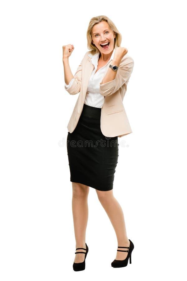 Rijp het bedrijfsvrouw vieren succes volledig lengte geïsoleerd o stock fotografie