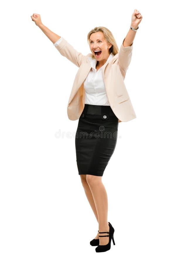 Rijp het bedrijfsvrouw vieren succes volledig lengte geïsoleerd o stock afbeelding
