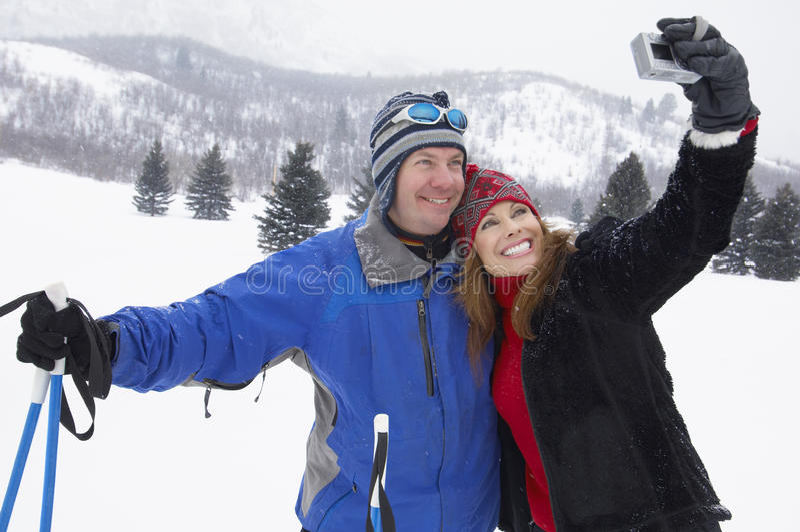 Rijp Paar die Zelfportret nemen royalty-vrije stock foto