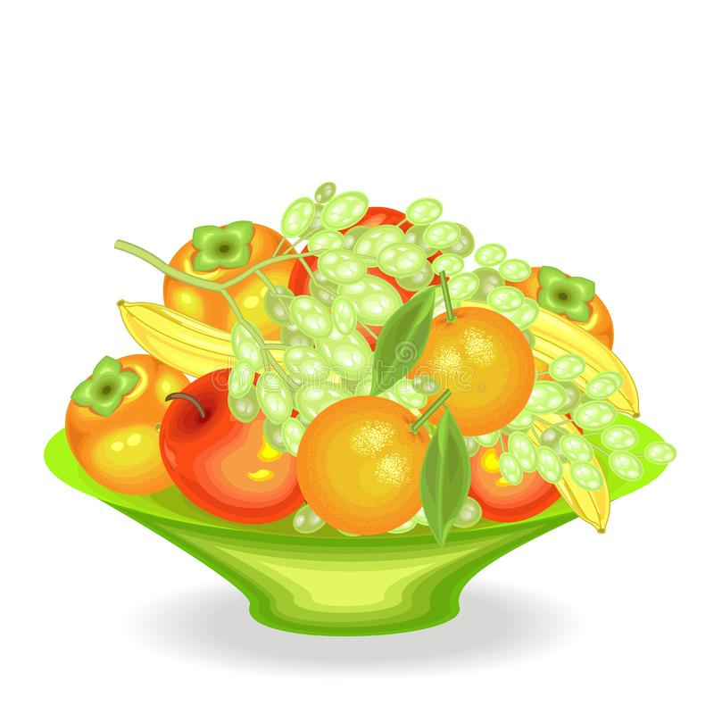 Rijp vers fruit op een schotel Heerlijke sappige bananen, dadelpruimen, sinaasappelen, appelen, druiven De bron van vitaminen en  royalty-vrije illustratie