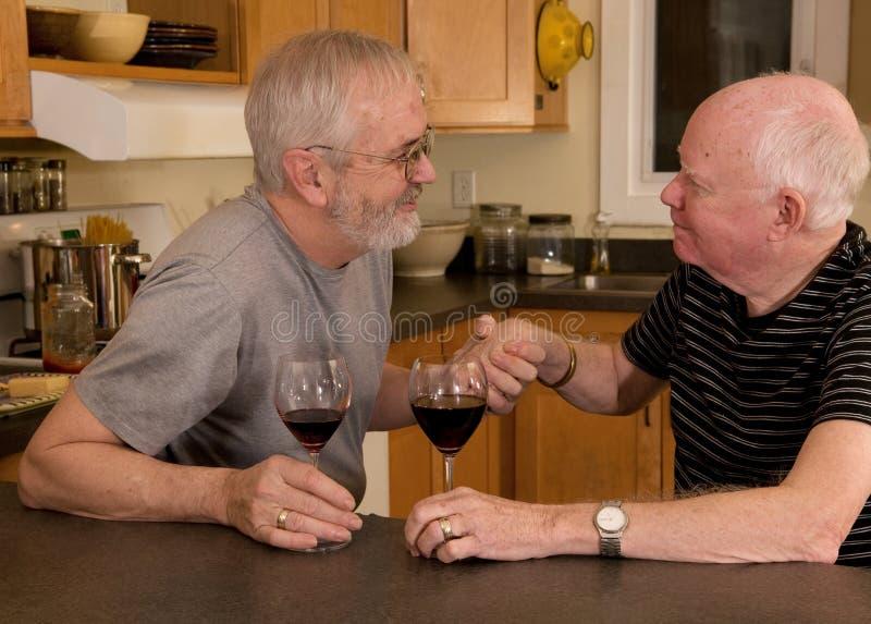 Rijp vrolijk paar dat wijn heeft stock afbeeldingen