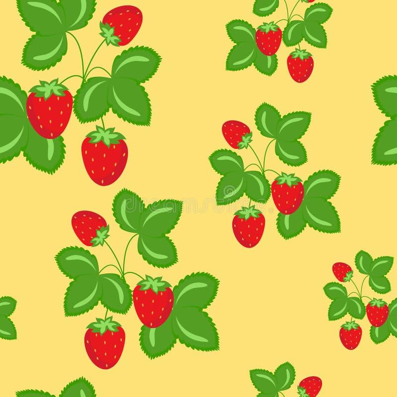 Rijp Wilde Aardbeien Vector Naadloos Patroon vector illustratie