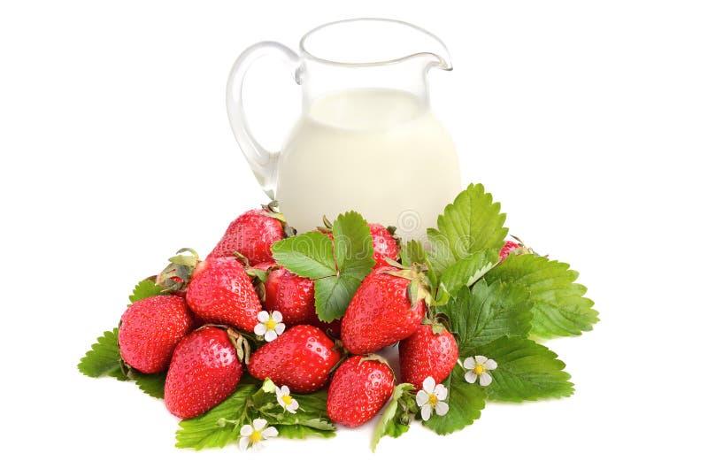Rijpe aardbeien en melk royalty-vrije stock afbeeldingen