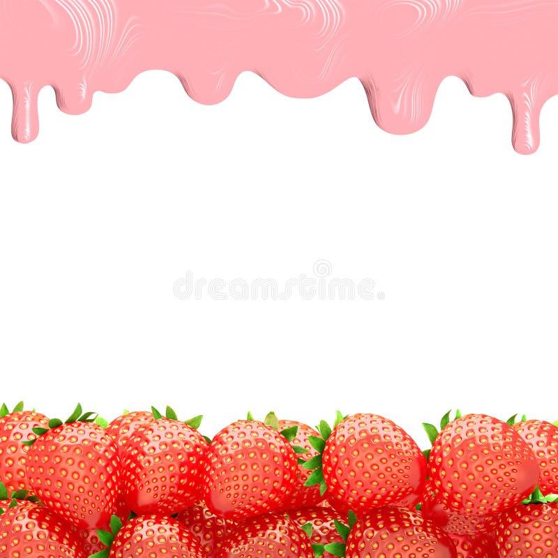 Rijpe aardbeien met room het 3d teruggeven stock fotografie
