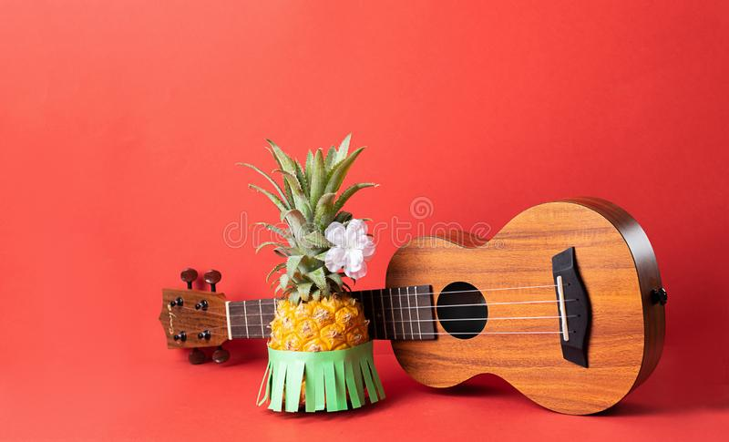 Rijpe ananas in een groene rok Gitaar op een modieuze koraalachtergrond Ontspanningsconcept en Hawaiiaanse partij royalty-vrije stock afbeelding