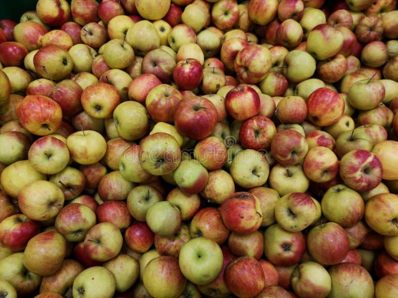 Rijpe appelen op een supermarkt stock afbeeldingen