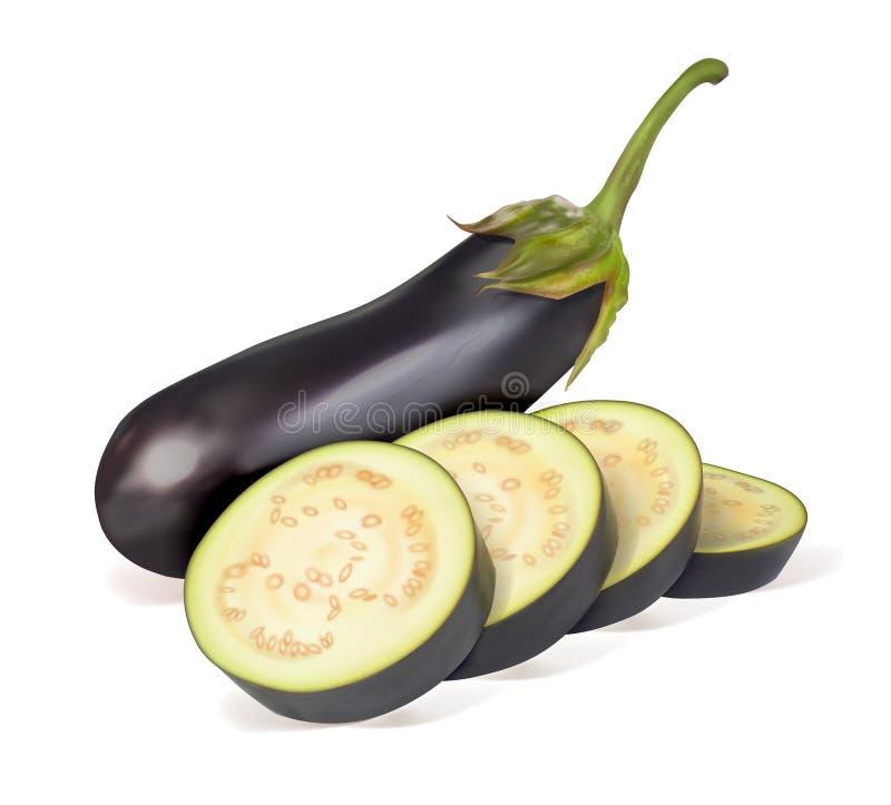 Rijpe aubergine Gehele groenten en gesneden in ringen stock illustratie