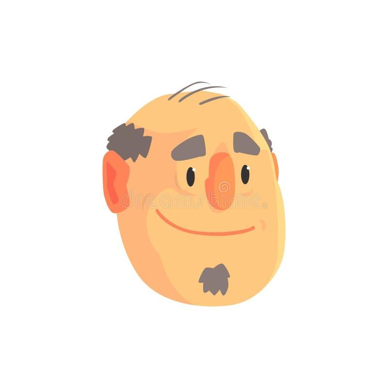 Rijpe balding avatar van het mensengezicht, de positieve mannelijke vectorillustratie van het karakterbeeldverhaal royalty-vrije illustratie