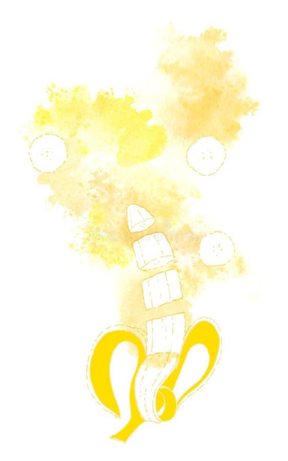 Rijpe banaan en pureeplons op witte achtergrond Met de hand geschilderde waterverfillustratie vector illustratie