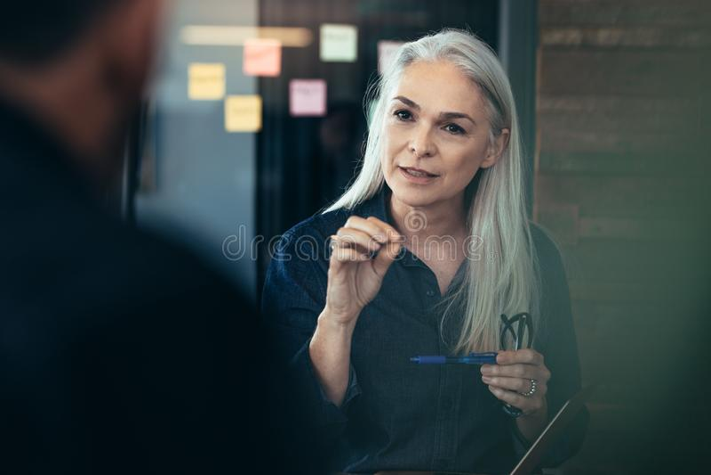 Rijpe bedrijfsvrouw die haar collega's in vergadering adviseren stock fotografie