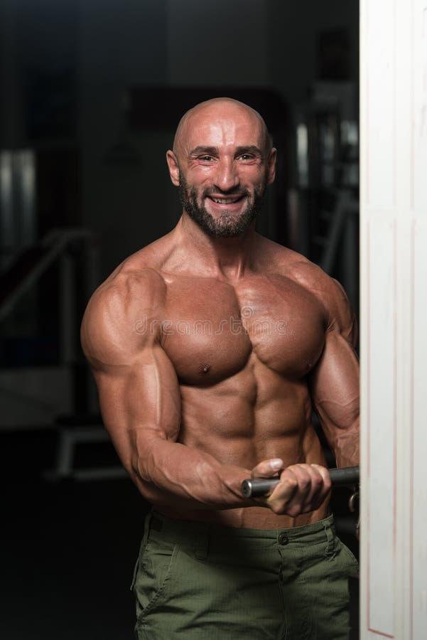 Rijpe Bodybuilder die Bicepsen uitoefenen stock afbeeldingen