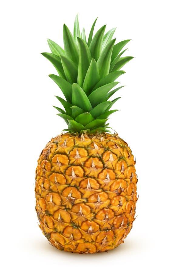 Rijpe die ananas op witte achtergrond met het knippen van weg wordt geïsoleerd stock foto's