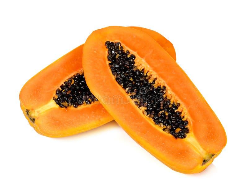 Rijpe die papaja op de witte achtergrond wordt geïsoleerd royalty-vrije stock foto