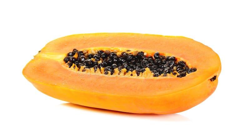 Rijpe die papaja op de witte achtergrond wordt geïsoleerd stock fotografie