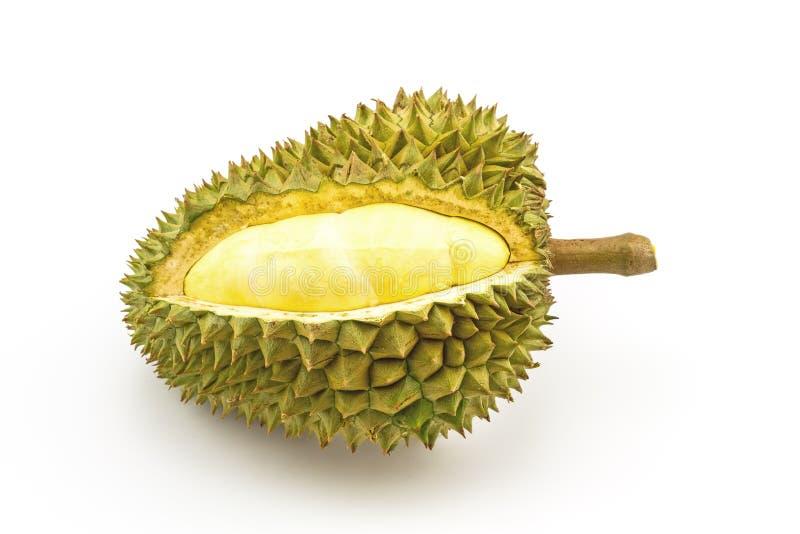 Rijpe Durian en deel met aren op witte achtergrond wordt geïsoleerd die royalty-vrije stock fotografie
