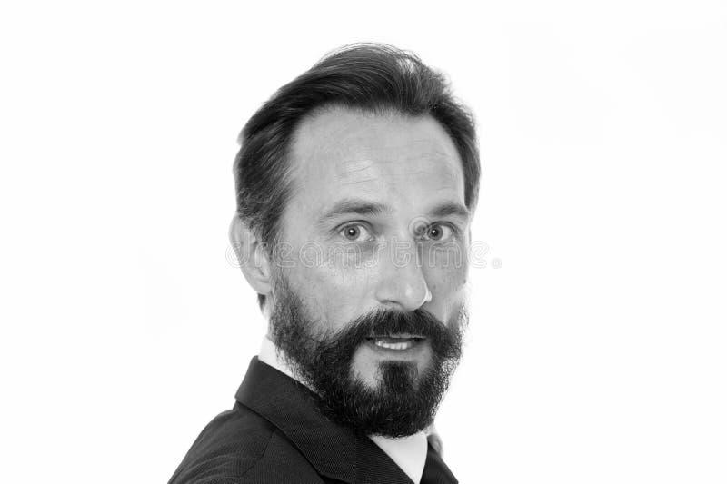 Rijpe en ervaren ondernemer Mannelijk gezicht met baard en snor dichte omhooggaand De bedrijfsmensen kleden code Zaken stock afbeeldingen