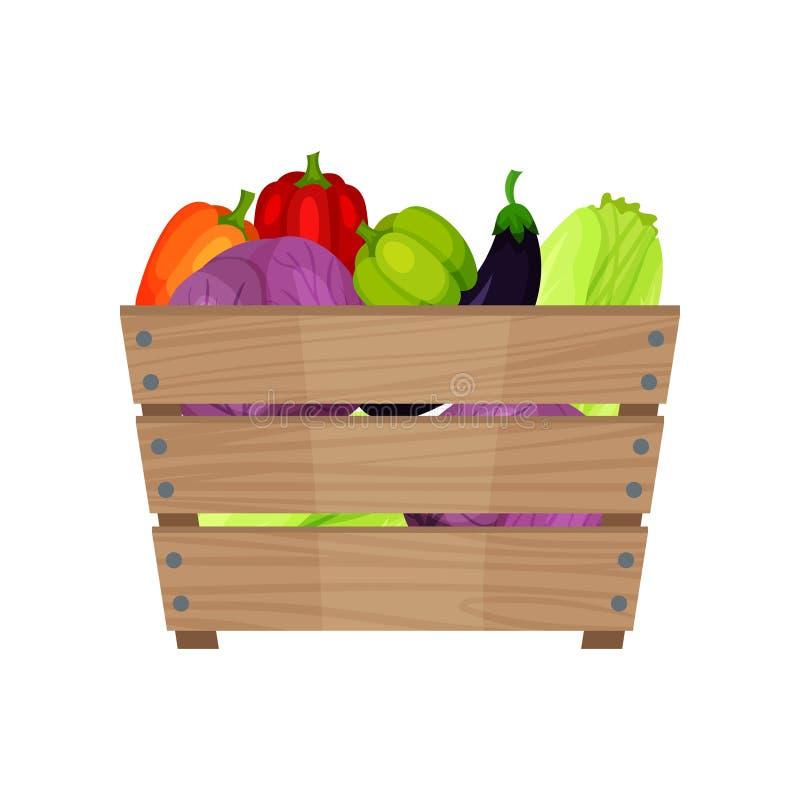 Rijpe en verse groenten in bruine houten doos Organische producten Landbouwbedrijfgewas Natuurlijk en gezond voedsel Vlak vectorp royalty-vrije illustratie