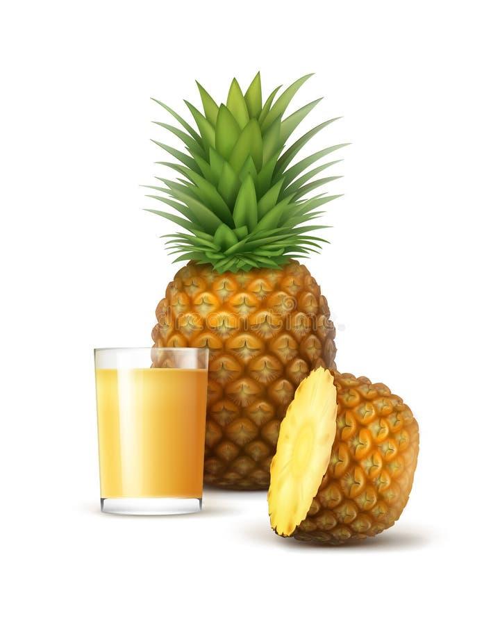 Rijpe gehele en gesneden ananas met glasofjuice stock illustratie