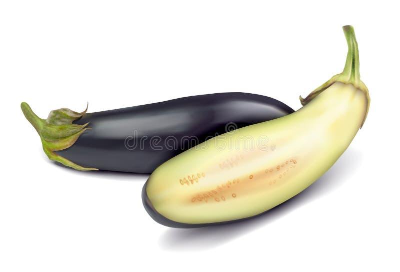 Rijpe gesneden aubergine royalty-vrije stock foto