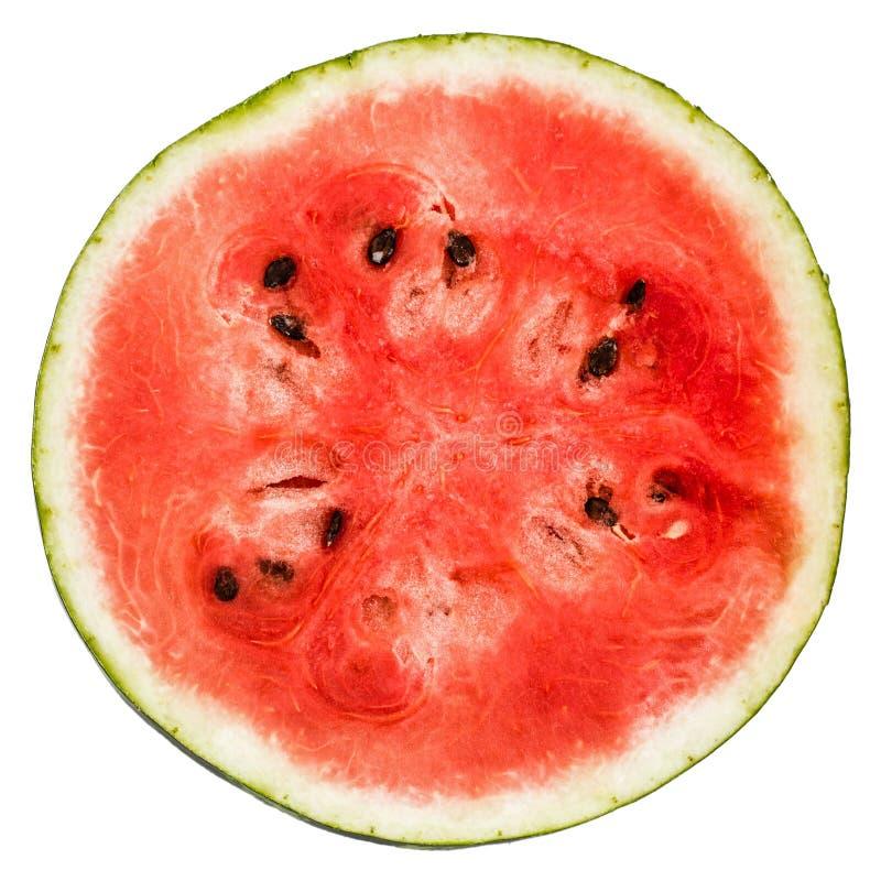 Rijpe gesneden die watermeloen, op witte achtergrond wordt geïsoleerd royalty-vrije stock afbeeldingen