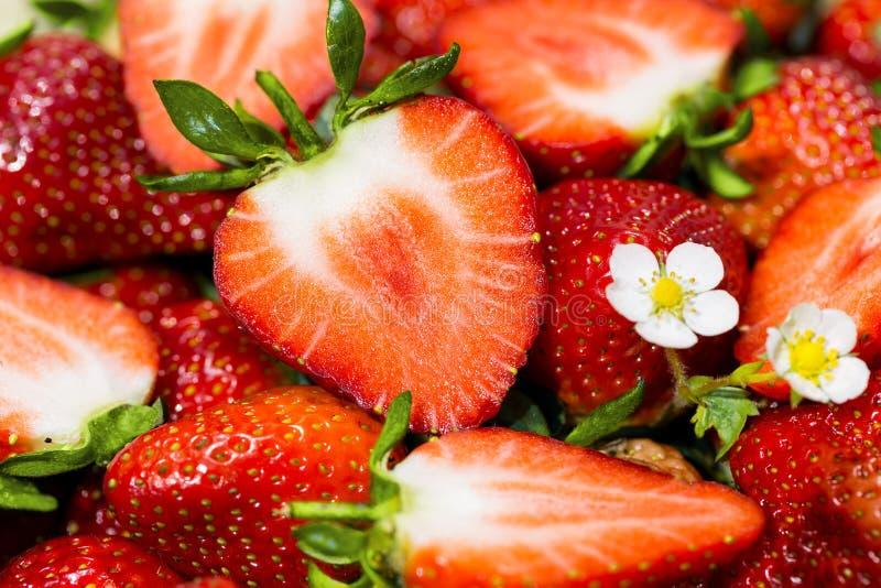 Rijpe gesneden en gehele aardbeien - stock foto's