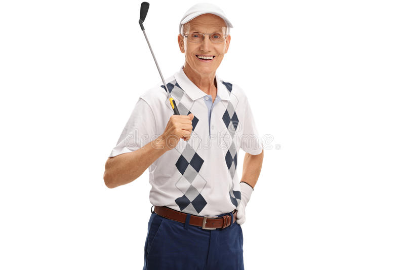 Rijpe golfspeler die een golfclub houden stock foto