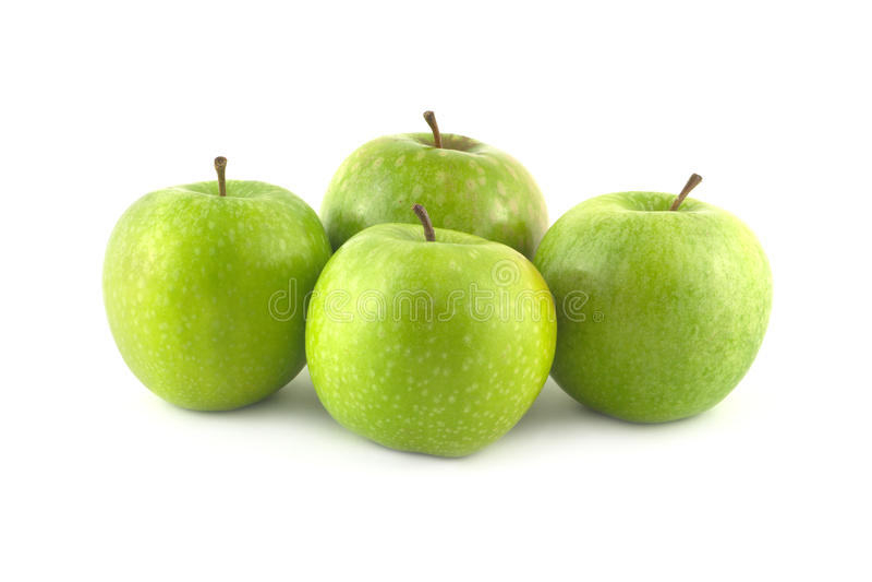Rijpe groene appelenclose-up stock fotografie